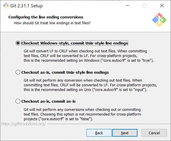 リモートリポジトリからのチェックアウト、ローカルリポジトリからのコミット時の改行コードの変換。確認して[Next]をクリック