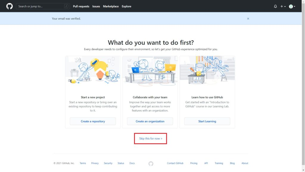 GitHubで最初に何をしますか?という選択画面
