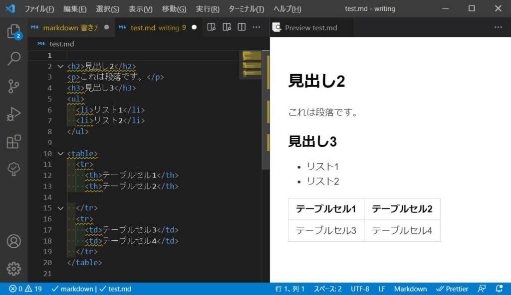 HTMLで記述