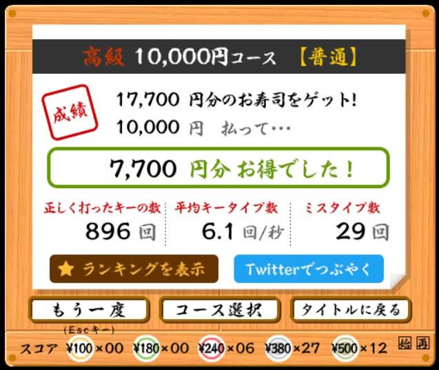 寿司打【コース:普通、10,000円】の結果